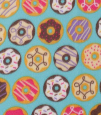 "Blizzard Fleece Fabric 59""-Donuts on Aqua"