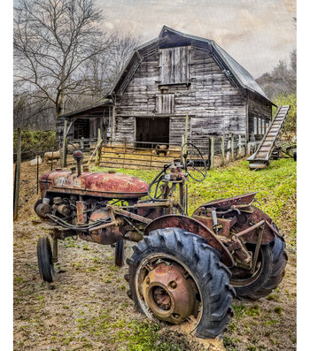 """Novelty Cotton Fabric Panel 44""""-Barn & The Tractor"""