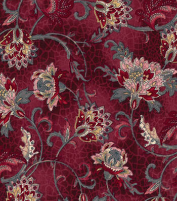 Vintage Cotton Fabric 43''-Jacobean on Red