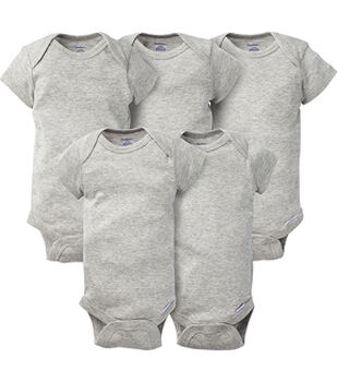 Gerber 5 pk Short Sleeve Onesies Bodysuits-Gray