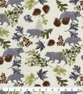 Snuggle Flannel Fabric-Bear With Leaves On Ivory