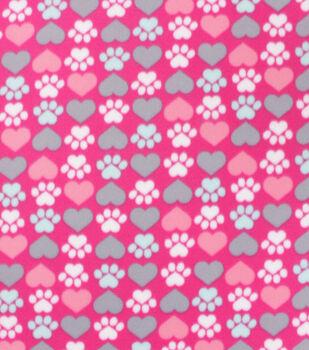 Valentine's Day Blizzard Fleece Fabric-Hearts & Paws on Dark Pink