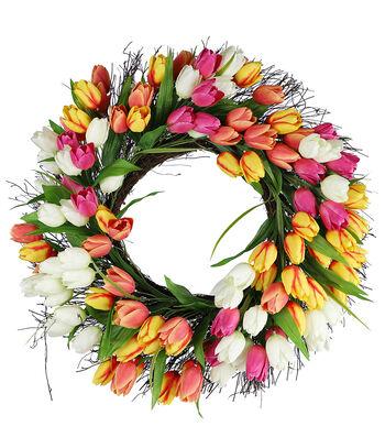 Fresh Picked Spring 22'' Tulip & Grapevine Wreath-Multicolored