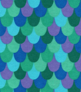 Snuggle Flannel Fabric -Teal Mermaid Scales