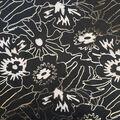 Scuba Knit Fabric-Foiled Mod Floral on Black