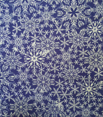 "Doodles Christmas Cotton Fabric 57""-Royal Blue Snowflakes"