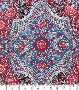 67a28bcf2b4f Americana Summer Rayon Crinkle Fabric-Blue Red Wave Folk Floral