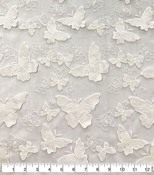 df8fc1ab62c Sew Sweet Dahlia Sheer Mesh Fabric-All Over Embroidered Butterfly White