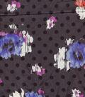 Silky Prints Crepe Fabric 55\u0027\u0027-Gray Floral & Dot