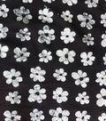 Textured Cotton Batik Apparel Fabric-White Floral on Black