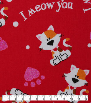 Valentine's Day Cotton Fabric-I Meow You & Glitter on Red