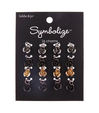 hildie & jo Symbolize 16 pk Zinc Alloy & Iron Roses Charms