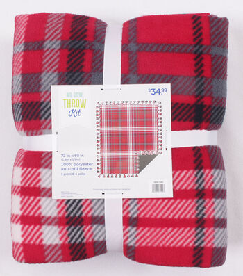 Christmas Fleece No Sew Throw Kit-Red Plaid