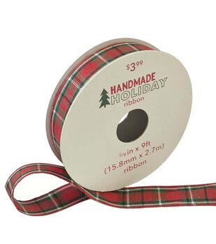 Handmade Holiday Christmas Ribbon 5/8''x9'-Red, Green & White Plaid