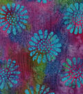 Cotton Batik Apparel Fabric 42\u0022-Purple Pink Flowers Textured