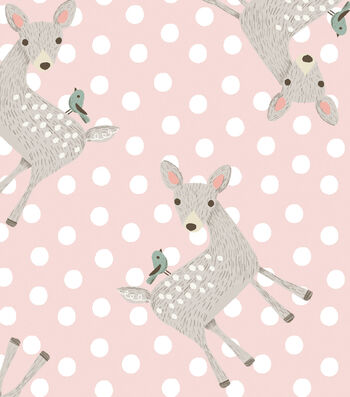 Nursery Flannel Fabric -Dots & Deer on Pink