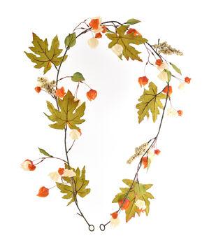 Blooming Autumn Lantern & Leaves Garland-Orange & Cream