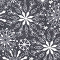 Snuggle Flannel Fabric -Elegant Snowflakes on Gray