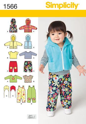 Simplicity Pattern 1566A Babies Sportswear Separates-Size XXS-L