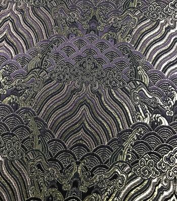 Fashion Brocade Fabric -Blackberry Wine Scallop