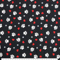 Super Snuggle Flannel Fabric-Paw Prints And Hearts On Black