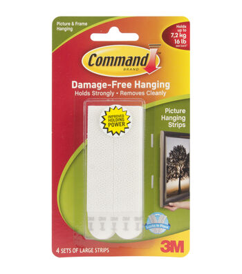 3M Command 4ct Large Picture Hanging Strips-White