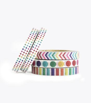 Park Lane 5 pk Micro Washi Tapes 0.24''x10 yds-Rainbow Basics