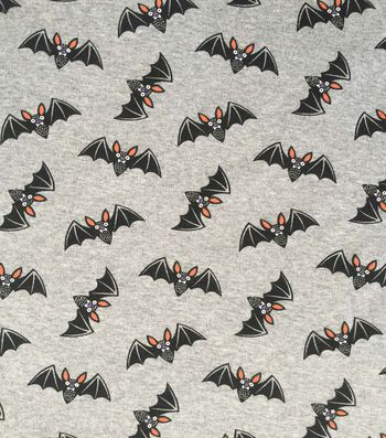 "Halloween Cotton Interlock Fabric 57""-Gray & Black Bats"