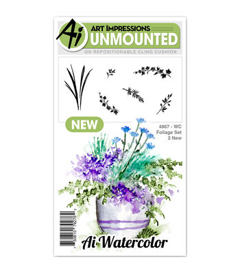 Art Impressions 6 pk Cling Rubber Stamps-Watercolor Foliage Set 2