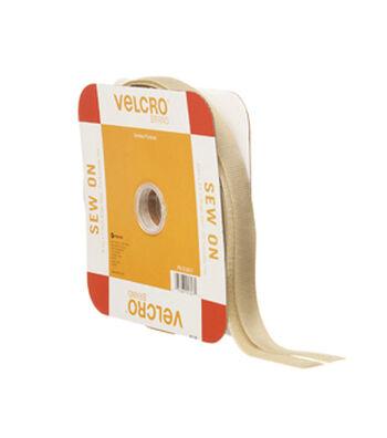 VELCRO Brand Sew On 30ft x 3/4in Tape, Beige, Flange