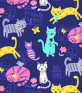 Snuggle Flannel Fabric -Cats Fun on Purple