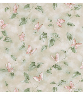 Liana Light Green Butterfly And Leaf Trail Wallpaper