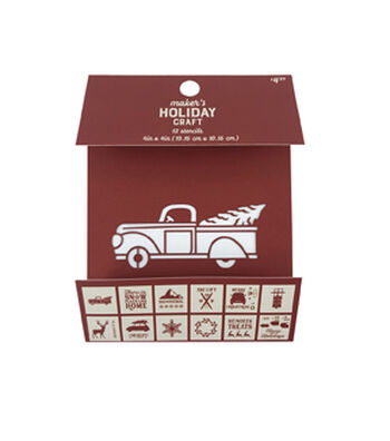 """Maker's Holiday Craft 12pc Stencils 4""""x4""""-Holiday Truck"""