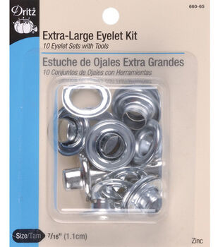 "Dritz 0.44"" Extra Large Eyelets Kit 10pcs Zinc"