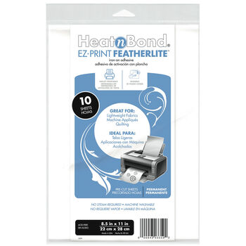 "HeatnBond EZ-Print Featherlite Iron-On Adhesive-8.5""X11"" 10/Pkg"