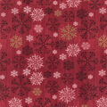 Christmas Cotton Fabric-Snowflakes on Red Wood