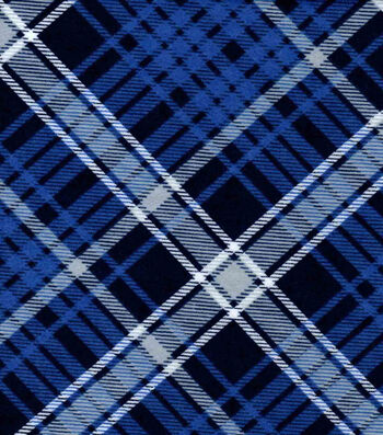"Snuggle Flannel Fabric 42""-Kate Navy Blue Plaid"