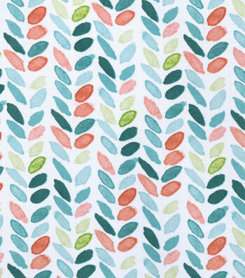 Silky Print Rayon Fabric 53''-Green & Orange Leaves