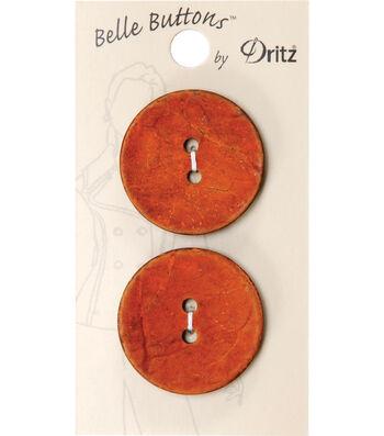 Dritz 30mm Belle Button Natural Coconut Orange Dyed