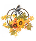 Blooming Autumn Pumpkin Shaped Sunflower, Pinecone & Leaves Wreath