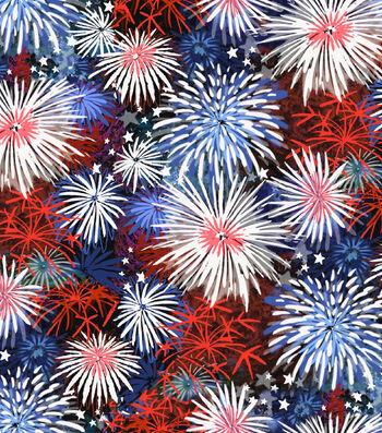 Patriotic Cotton Fabric -Fireworks