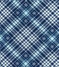 Snuggle Flannel Fabric 42\u0022-Snowflakes On Plaid