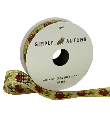 Simply Autumn Ribbon 7/8''x9'-Owl on Natural