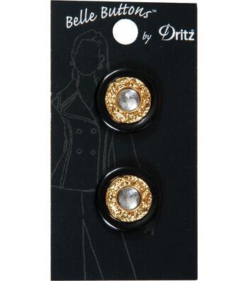 Dritz Belle Button Black Gold Stone Center 22mm