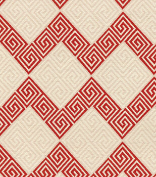 """Waverly Upholstery Fabric 57""""-Greek Notes Red"""