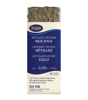 Wrights Medium Metallic Rick Rack-1/2''W x 3yds Metallic