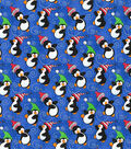 Christmas Cotton Fabric-Dancing Penguins on Blue