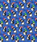Christmas Cotton Fabric 44\u0022-Blue Dancing Penguins