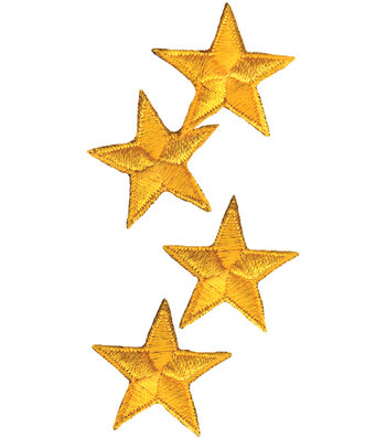 "Wrights Iron-On Appliques-Yellow Stars 1-1/4"" 4/Pkg"