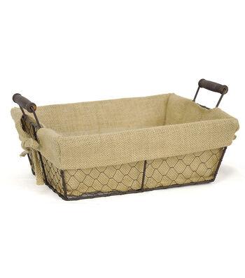Organizing Essentials 13''x10'' Wire Basket with Burlap Liner